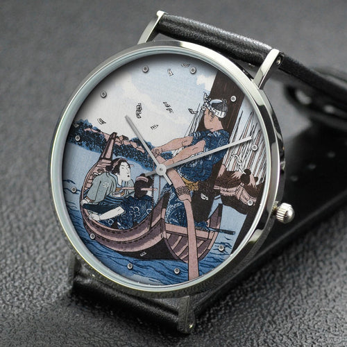 Utagawa Kuniyoshi wrist watch ─ Tsukuda Island, from the series Famous Places in the Eastern Capital