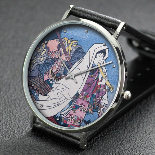 Utagawa Kuniyoshi wrist watch ─ Evening Faces, Musashibo Benkei