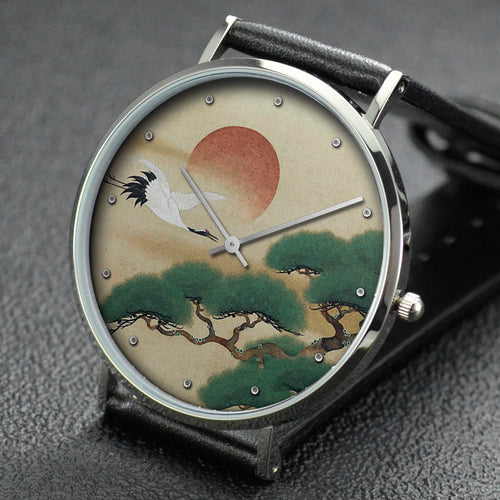 Suzuki Kiitsu wrist watch ─ Crane and Pine Tree with Rising Sun