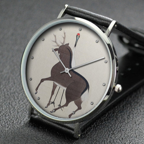 Suzuki Kiitsu wrist watch ─ Deer, Crane and Bat (Partially)