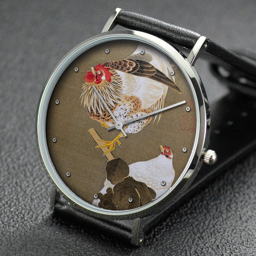 Ito Jakuchu wrist watch ─ Hen and Rooster with Grapevine