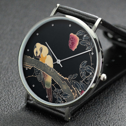 Ito Jakuchu wrist watch ─ Parrot on the Branch of a Flowering Rose Bush