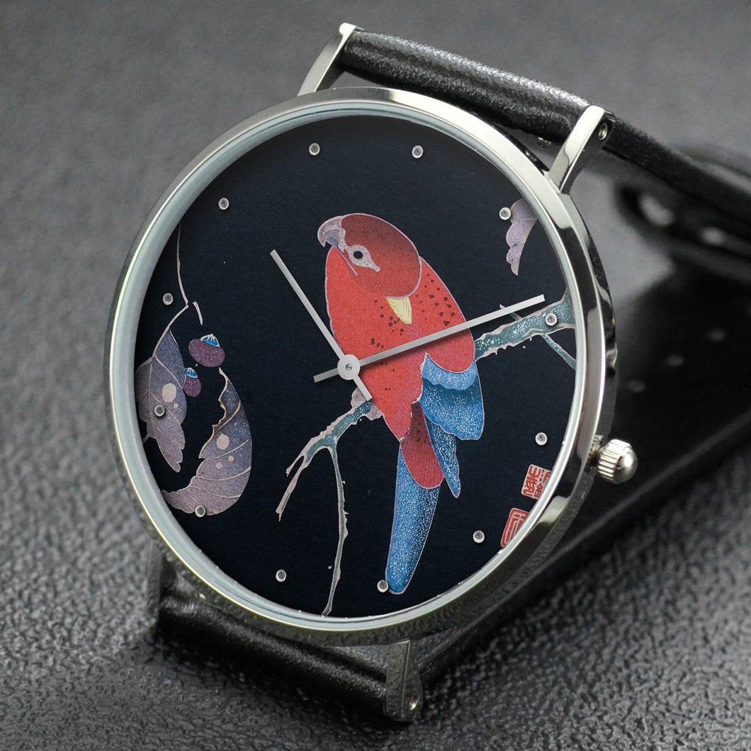Ito Jakuchu wrist watch ─ Red Parrot on the Branch of a Tree
