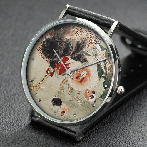 Ito Jakuchu wrist watch ─ Rooster and Family