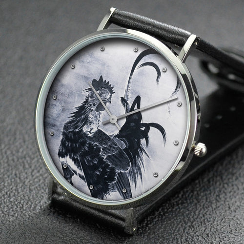 Ito Jakuchu wrist watch ─ Roosters, Hen, and Chicks [left of a pair]