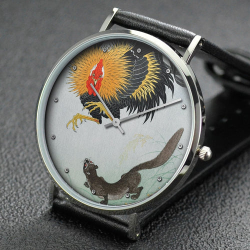 Ohara Koson wrist watch ─ Rooster and Weasel