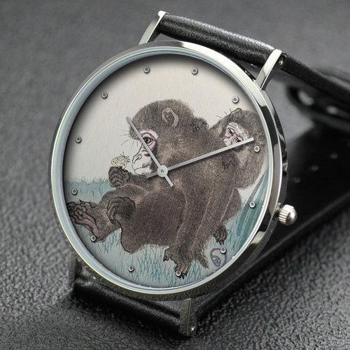 Ohara Koson wrist watch ─ Two monkeys with butterfly