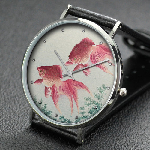 Ohara Koson wrist watch ─ Two veiled goldfish