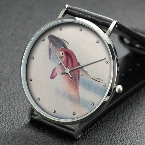Ohara Koson wrist watch ─ Two carp