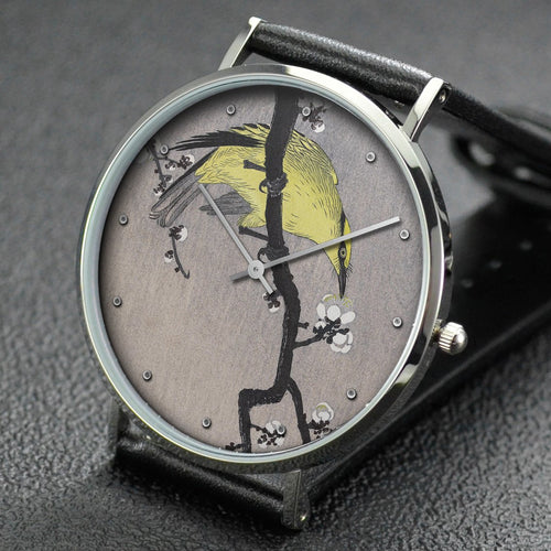 Ohara Koson wrist watch ─ Chinese wielwaal on plum blossom branch