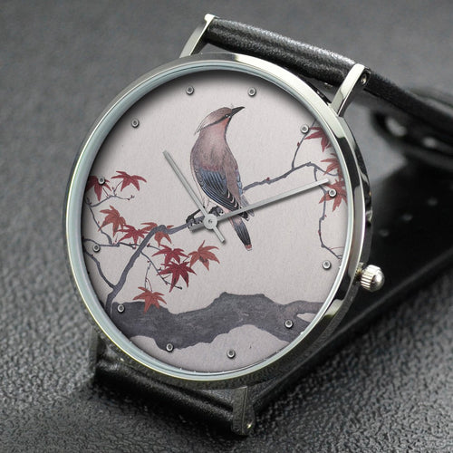 Ohara Koson wrist watch ─ Bohemian waxwing on maple