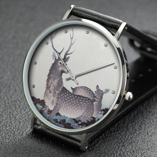 Ohara Koson wrist watch ─ Two deer