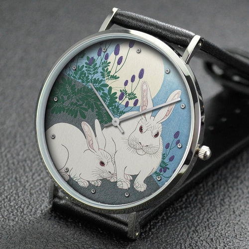 Ohara Koson wrist watch ─ Rabbits at full moon