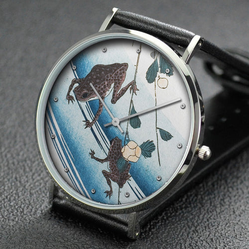 Hiroshige wrist watch ─ Frogs and yellow rose