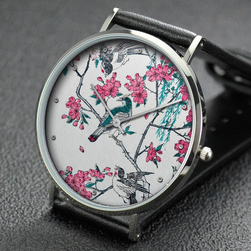 Hiroshige wrist watch ─ Willow, Cherry Blossoms, Sparrows and Swallow