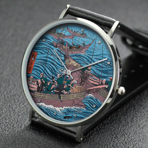 Hiroshige wrist watch ─ Bonito Fishing on the Ocean, Tosa Province
