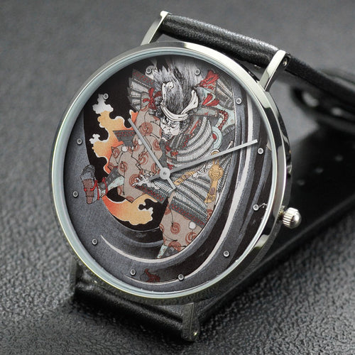Yoshitoshi wrist watch ─ The Ghost of Akugenta Yoshihira Attacking His Executioner Namba Jiro at Nunobiki Taki