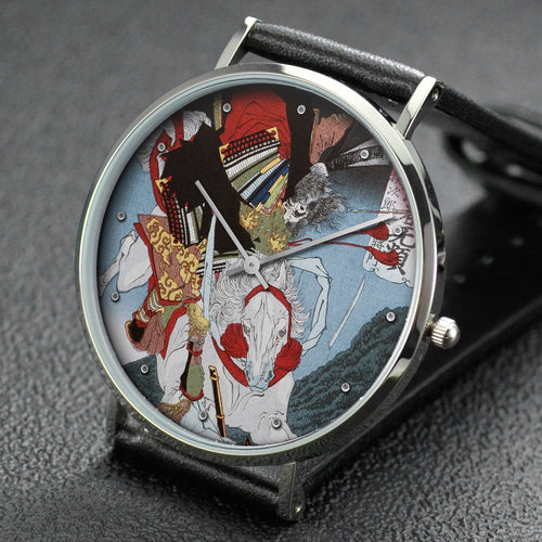 Yoshitoshi wrist watch ─ Minamoto no Ushiwakamaru Battling with the Brigand Kumasaka Chohan