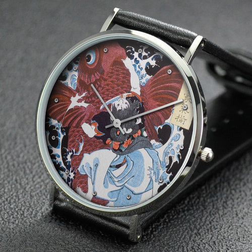 Yoshitoshi wrist watch ─ Oniwaka and Carp