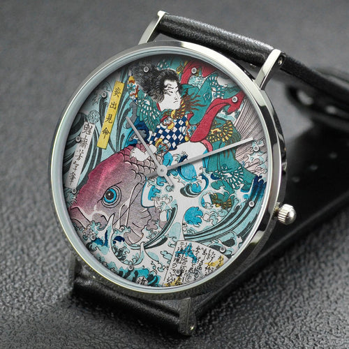 Yoshitoshi wrist watch ─ Left: Kurikara Kengor?; right: Hohodemi-no-mikoto
