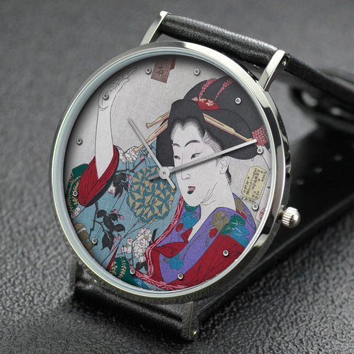 Yoshitoshi wrist watch ─ Appearing Appalled, Behavior of an Unmarried Woman from Nagoya of the Ansei Era