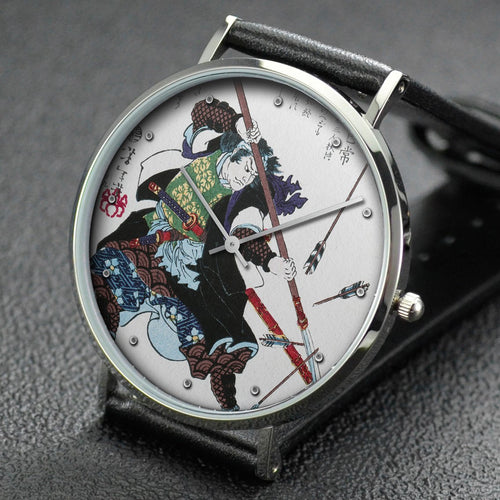 Yoshitoshi wrist watch ─ Ronin, or masterless Samurai, fending off arrows