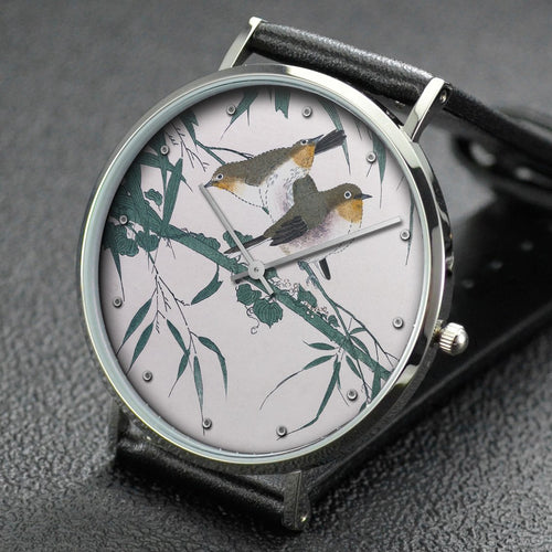 Utamaro wrist watch ─ Myriad Birds:A Playful Poetry Contest Warbling white-eye