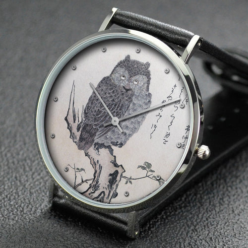 Utamaro wrist watch ─ Myriad Birds:A Playful Poetry Contest Owl