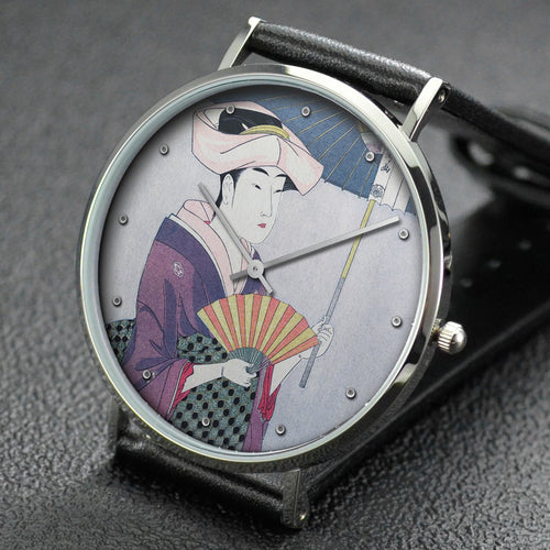 Utamaro wrist watch ─ Woman Holding Up a Parasol from the series Fujo ninso juppen