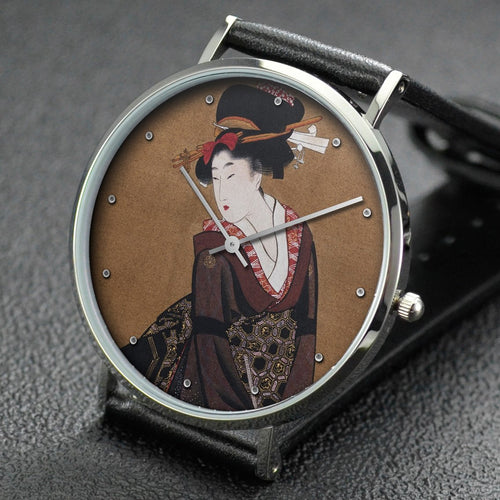 Utamaro wrist watch ─ Two Beauties (Partially)