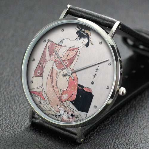 Utamaro wrist watch ─ A Woman and a Cat
