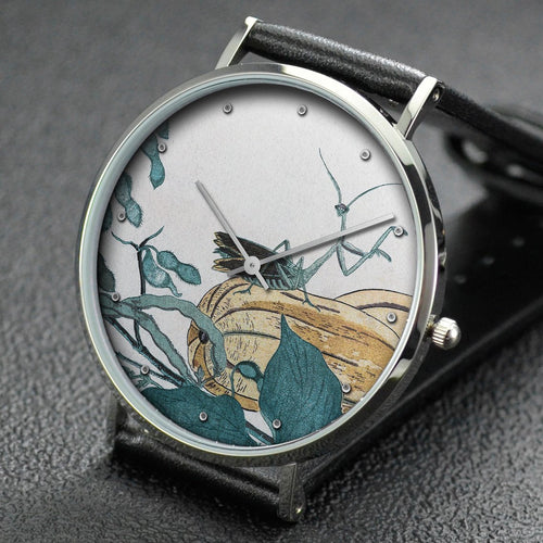 Utamaro wrist watch ─ Mantis on gourd