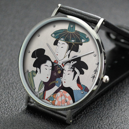 Utamaro wrist watch ─ Three young men or women