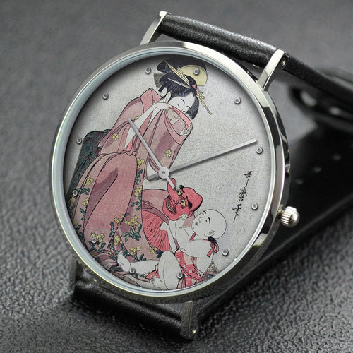 Utamaro wrist watch ─ Woman Playing with a Child with a Tengu Mask