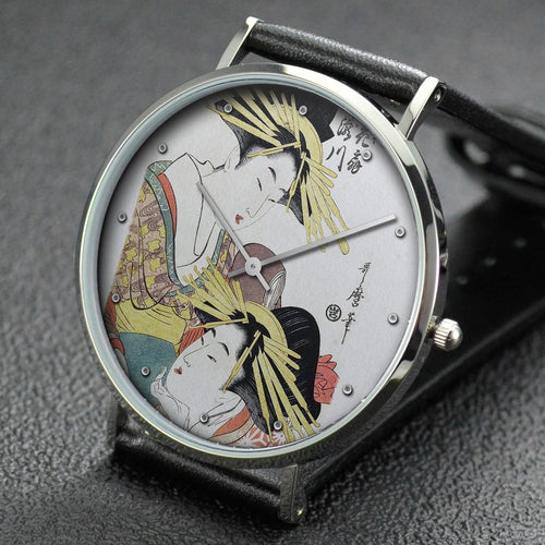 Utamaro wrist watch ─ Hanaogi and Takigawa of the Ogiya House