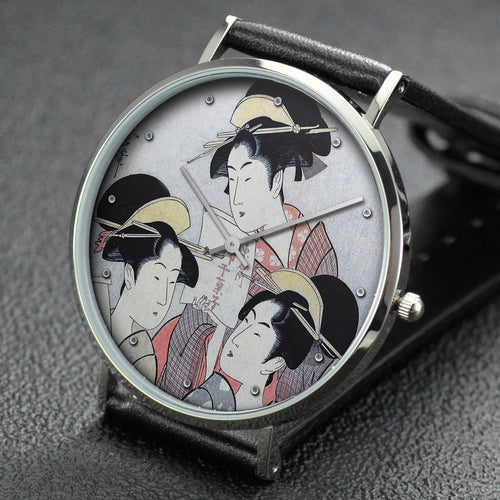 Utamaro wrist watch ─ Three Women with Bills for Sweets
