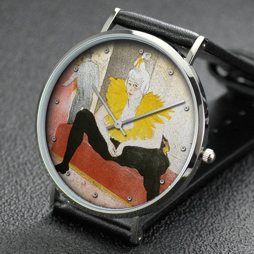 Henri de Toulouse-Lautrec wrist watch ─ Seated Female Clown, flat one from Elles