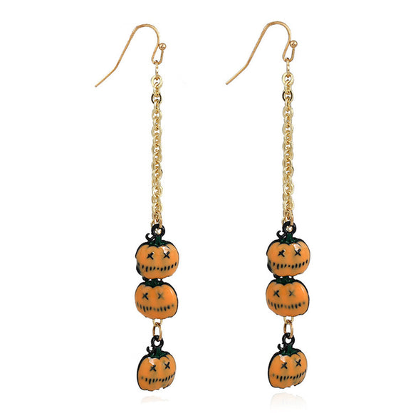 Halloween Pumpkin Shape Long Earrings