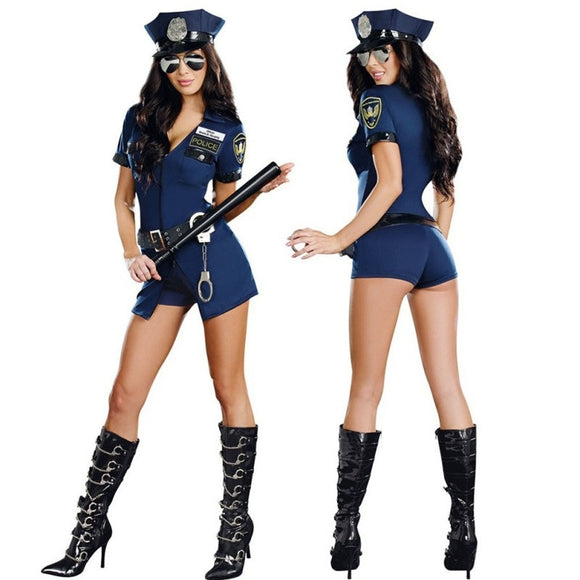 Sexy Lady Cosplay Costume Police Suit Party Dresses Uniform Temptation Halloween