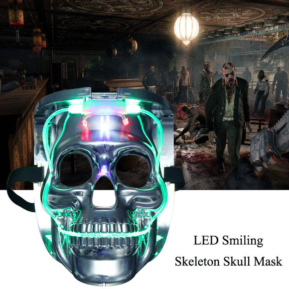 Silver Light Up LED Skeleton Skull Rave Mask
