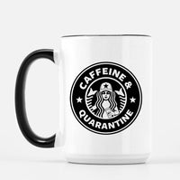 Caffeine & Quarantine Mugs - Metallic & White + Black Options