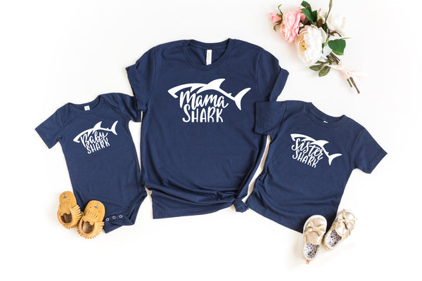 Family Shark Set - Papa Shark, Mama Shark, Sister Shark, Brother Shark & Baby Shark Crew Neck T-Shirts & Onesie