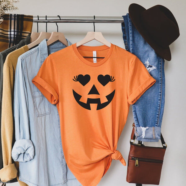 Eyelash Pumpkin - Halloween Themed Crew Neck T-Shirt