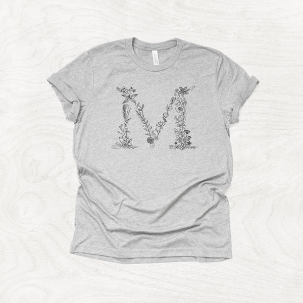 Ornate Floral Initial - Monogram Inspired Crew Neck T-Shirt