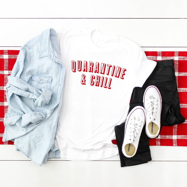 Quarantine & Chill - Netflix Inspired Themed Crew Neck T-Shirt