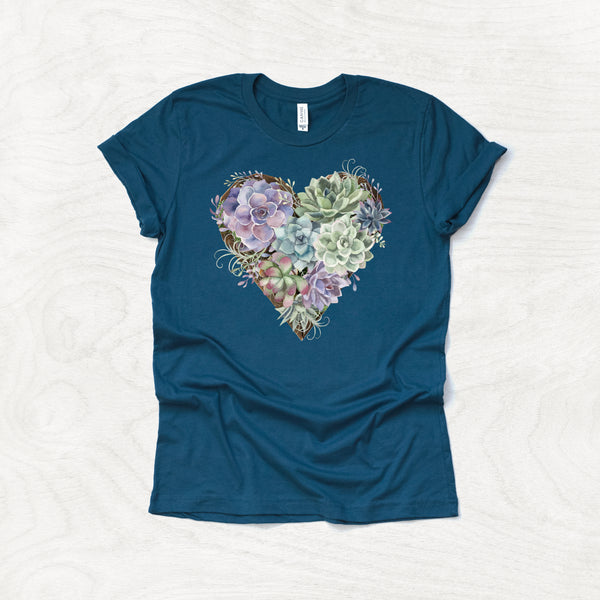 Succulent Heart - Plant Themed Crew Neck T-Shirt