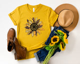 Sunflower Leopard Print - Fall Themed Crew Neck T-Shirt