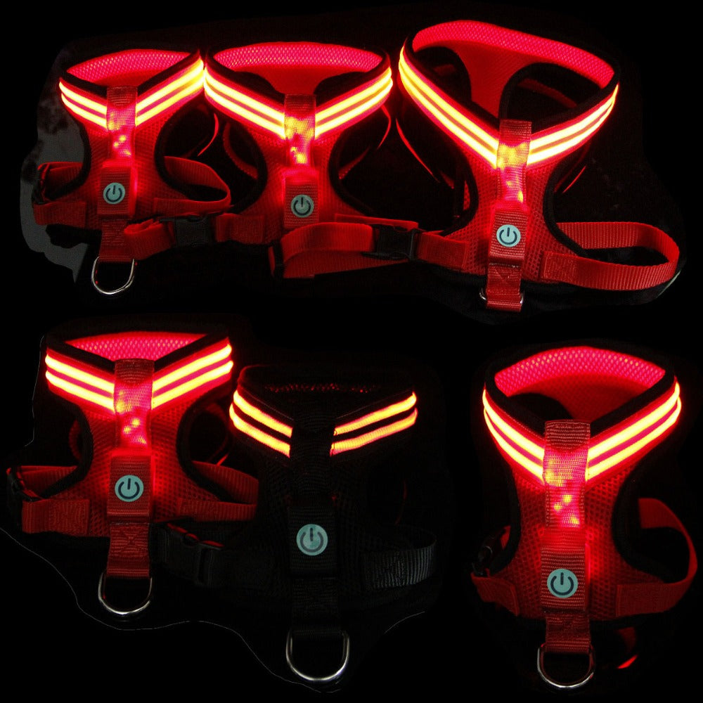 Fiber Optic LED Dog Harness