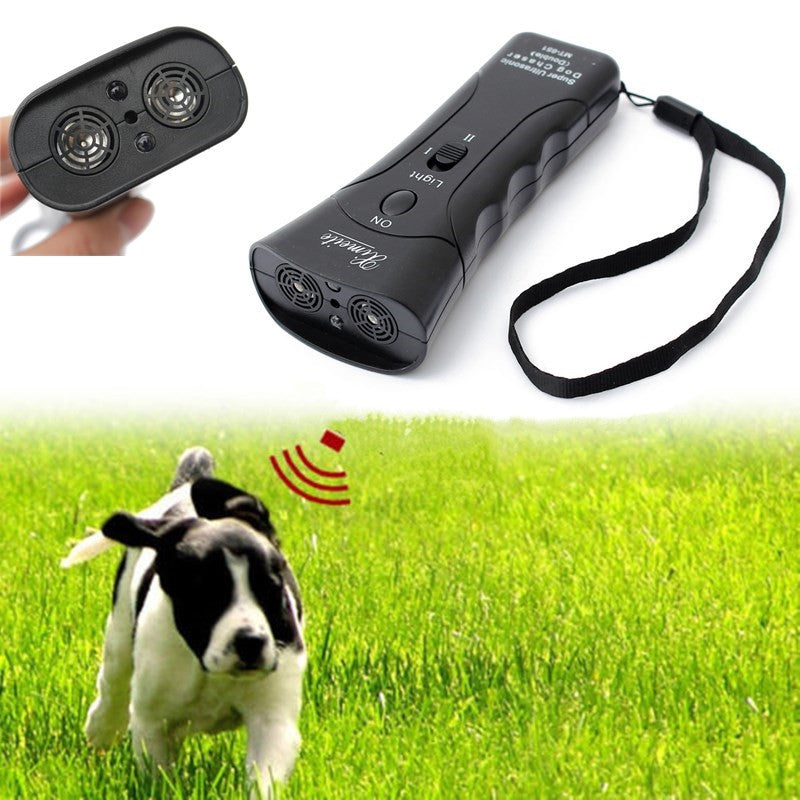Portable Ultrasonic Dog Repeller 3 In 1 Anti Bark Dog Training Device LED Flashlight Equipment For Agility Dog Stop Barking