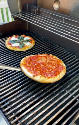 Capone's pizzas on the grill